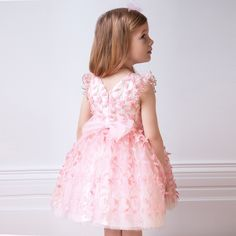6c2094147 David Charles - Girls Pink Floral Appliqué Tulle Dress | Childrensalon Pink  Bouquet, Tulle Dress