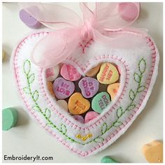 Heart Treat Holder - Heart Candy Holder Machine Embroidery Design - Instant Download