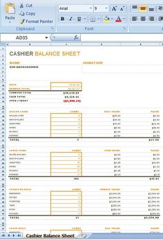 Cashier Balance Sheet is a layout for you to stay informed regarding the cashier's day by day money exchanges, guaranteeing that all the cash sums up before the day is over. It effortlessly demonstrates if the cash register or drawer misses the total sum mark or is over it.