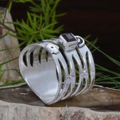 EXCLUSIVE 925 SOLID STERLING SILVER Garnet Cut RING 4.49g DJR10890 SZ-7.5 #Handmade #Ring