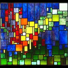 Josephine works from her Minnesota studio creating geometric and slightly abstract 'landscape mosaics' crafted in traditional leaded stained glass. Modern Stained Glass, Stained Glass Quilt, Stained Glass Designs, Stained Glass Panels, Stained Glass Projects, Stained Glass Patterns, Leaded Glass, Mosaic Art, Mosaic Glass