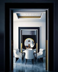Viyet Style Inspiration | Dining Room | Dark framed entry ways add drama to this dining room