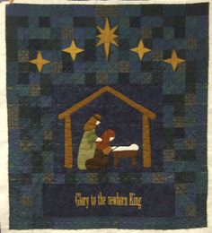 blue nativity quilt