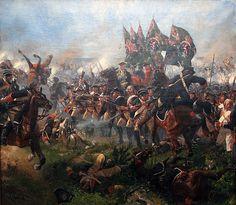 Infantry of Hessen-Kassel at the battle of Krefeld (Seven Years war),Richard Knötel (Berlin 1857 - 1914).В целом,хотя кампания 1758г. и заверш. для пруссаков более или менее удачно,она дополнит.ослабила прусские войска,понёсшие за 3 года войны значит.,для Фридриха невосполн., потери:с 1756 по 1758г. он потерял,не считая попавш.в плен, 43 генерала убитыми или умерш. от получ. в сражениях ран,среди них лучших св.военачальников, таких,как Кейт,Винтерфельд, Шверин,Мориц фон Дессау и др.
