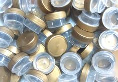 75 Tiny Small Plastic JARS Gold Cap Container Cosmetic Samples DecoJars #K3301 #DecoJars