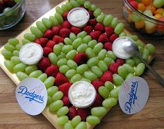 Baseball Party Idea ~ baseball diamond shaped fruit platter…obviously we wouldn't use a Dodgers logo. Softball Party, Baseball Birthday Party, Sports Birthday, Sports Party, 2nd Birthday Parties, Birthday Fun, Birthday Ideas, Theme Parties, 1st Birthdays