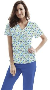 """ASPCA Women's Wrap Scrub Print Top in """"Purrs & Furs"""" 3010-purr    ASPCA Women's Wrap Scrub Print Top in """"Purrs & Furs""""    Women's mock wrap top has a contoured fit, and features two hidden hip pockets.  Fabric: 65/35 brushed Poly/Cotton blend  Sizes: XS - 3XL $19.50  #scrubcouture #aspca #scrubs #nurses"""