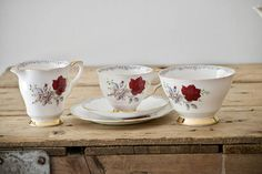 Teacup and Saucer Tea Set Bone china Cup and Saucer Roses to Remember by Royal Stafford Afternoon Tea Creamer Sugar Bowl Xmas Gift by VintageFlicker