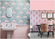 Papel de parede rosa millenial #papéisdeparede #papeldeparede #decoração #decor #decoration #wallpaperwall #wall #decoraçãodourada #dourado #quarto #sala #parede #fengshui  #rosamillenial #millenials #millenialpink Feng Shui, Wallpaper Wall, Purple, Pink, Decorating Ideas, Rooms, Interiors, Curtains, Shower