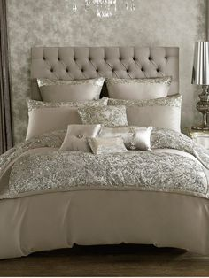 Kylie Minogue Alexa At Home Bedding RangeTransform your bedroom into a space fit for a showgirl with this glamorous Alexa bedding range from Kylie Minogue's At Home collection.In a sumptuously soft and smooth silver satin, the luxurious range is exquisite Dream Bedroom, Home Bedroom, Bedroom Furniture, Master Bedroom, Bedroom Decor, Bedroom Ideas, Kylie Minogue At Home, Silver Bedroom, Bed Sets