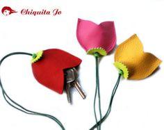 Tulipanes de caso claves de cuero
