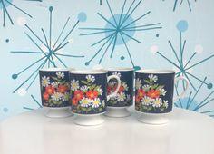 Vintage Mugs - Set of Blue Mugs - Floral Mugs - Blue Flowers - Vintage Cups - Cup Set - Mug Set - Set of 4 Mugs