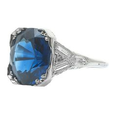 Fourtane Jewelry: Art Deco sapphire & diamond ring