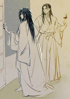 Hashirama and Madara.  Is Madara leaving?  Why don't they sleep in the same room ^^ #hashirama #madara