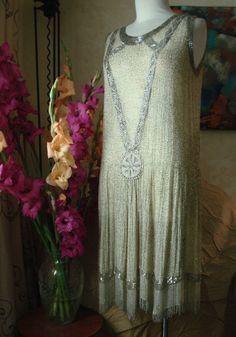 VINTAGE Museum Quality 1920'S BEADED GREAT GATSBY CHARLESTON FLAPPER DRESS ~ S/M | eBay