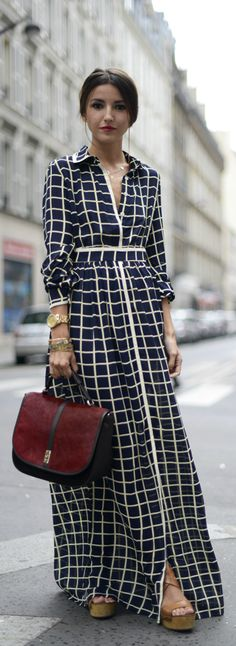 Spring / Summer - street chic style - cream and navy chiffon checkered shirt maxi dress + nude wedges + burgundy and black handbag
