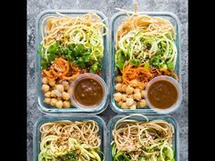 These cold sesame noodle meal prep bowls are the perfect vegan prep ahead lunch: spiralized vegetables tossed with chickpeas and whole wheat spaghetti in a spicy almond butter sauce.