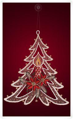 Fensterbild - Motiv Weihnachtsbaum mit Kerze