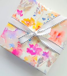 Gift Wrap Floral Paper Watercolor Flowers