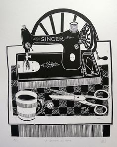 Jan Brewerton ~ A Stitch in Time (linocut) Linocut Prints, Art Prints, Block Prints, Tampons, Graphic Art, Lino Cuts, Contemporary Art, Contemporary Printmaking, Collage