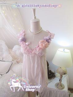 【仙妹☆】梳妆中的少女 复古软萌睡裙 粉扑兔毛 水晶睡裙 超萌-淘宝网