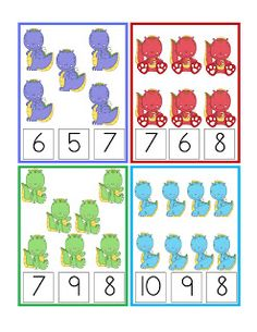 Dinosaur Number Cards 1-12 Clothespin Activity