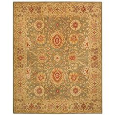 @Overstock - Accentuate your home decor with an intricate array of bold earth tones. A sage interior with a classy border backdrops a gorgeous pattern of crimson, gold and ivory in this hand-spun wool rug. A cotton canvas backing provides durability to this rug.http://www.overstock.com/Home-Garden/Handmade-Mahal-Sage-Ivory-Wool-Rug-4-x-6/5300382/product.html?CID=214117 $134.99