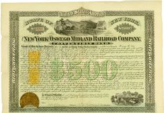 New York & Oswego Midland Railroad Company, State of New York, 1 May 1870, 7 % Convertible Bond for US-$ 500, #2720, 29 x 42.4 cm, green, black, 44 coupons remaining, folds with tears, two minor fold junction holes, golden seal, large steel engraving vignettes with trains passing a steamboat in a river surrounded by hills (centre top) and cattle (at right bottom), printed at Henry Seibert & Bros., Imprinted Revenue RN-T4 and RN-P5 (left), only one more certifciate (#2719) listed in Cox [...]