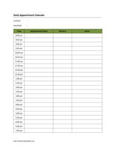 free printable appointment calendar