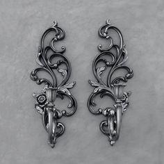 Black Floral Sconces - Black Rose Candle Holders - Vintage Burwood - Set Of Two by TheCherryAttic on Etsy