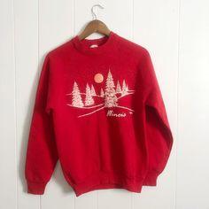 8e819bd58 Vintage Illinois grandma style crew neck snow scene sweater - Depop Vintage  Crewneck Sweatshirt, Mom