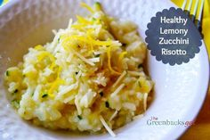 Healthy Lemony Zucchini Risotto - great use for all that zucchini in the summer garden. #healthyeatingparty