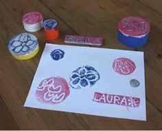 bottle caps, homemade stamps, plastic bottles, bottle cap crafts, ink pads, food trays, earth day crafts, styrofoam tray, kid