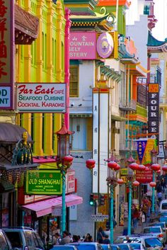 Colorful Chinatown in San Francisco. One of the nations oldest Chinese neighborhoods.