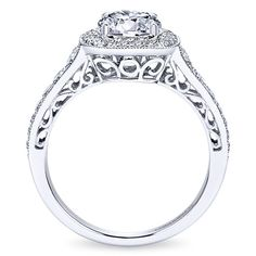 14k White Gold Victorian Style  Halo Engagement Ring
