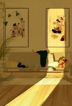 The Art Of Animation, Pascal Campion - . Storyboard, People Illustration, Illustration Art, Pascal Campion, Anime Comics, Cat Art, Art Inspo, Bunt, Amazing Art