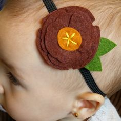 Poppy felt flower headband in brown and pumpkin  www.etsy.com/listing/246819704/poppy-felt-flower-headband-in-brown-and