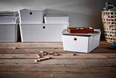 Kannelliset KUGGIS-laatikot sopivat monenlaisille tavaroille.