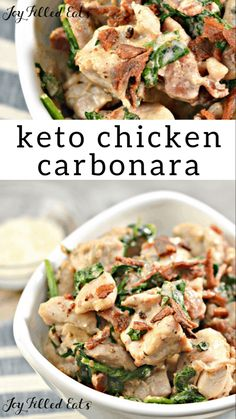 Keto Chicken Carbonara - Low Carb, Gluten-Free, Grain-Free, THM S - Chicken Carbonara takes the classic flavors of spaghetti carbonara and subs in chicken for the pasta. It makes a delicious low carb dinner that is ready in about 30 minutes. Best Low Carb Recipes, Low Carb Dinner Recipes, Keto Dinner, Chicken Carbonara Recipe, Shrimp Carbonara, Recipe Chicken, Chicken Recipes, Ketogenic Recipes, Low Carb
