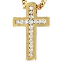 Damen-Anhänger 'Kreuz' 14 Karat (585) Gelbgold 17 Diamant 0.50 ct. Dreambase, http://www.amazon.de/dp/B0097R6SSK/ref=cm_sw_r_pi_dp_zdmjtb08883QP