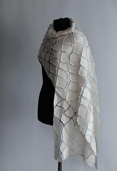 Nuno Feled Scarf | by FeltedPleasure Nuno Felting, Needle Felting, Handmade Felt, Gauze Fabric, Wool Scarf, Wool Felt, Scarf Wrap, Sewing Patterns, Felt Bags