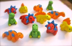 how to make fondant dinosaur cupcake toppers Dinosaur Cupcake Toppers, Fondant Cake Toppers, Cupcake Cakes, Dino Cake, Dinosaur Cake, 3rd Birthday Cakes, Dinosaur Birthday Party, Minnie Mouse Cake Topper, Fondant Animals