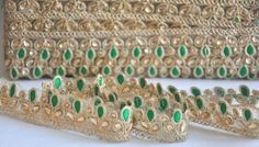Bollywood Inspired Green Trim Golden  Floral work by CSSSupplies