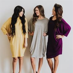 Dolman Dress / S – 3XL – $20.99 Who doesn't love a Dolman style? I love Dolman shirts and I can't wait to try out the dresses. Comes in 6 different color options!