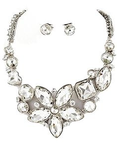 Fancy Crystal Necklace Earrings Set Clear Floral Evening Silver Tone Posts Recyclebabe http://www.amazon.com/dp/B00LVED5U6/ref=cm_sw_r_pi_dp_od0Xtb0K38698A9N