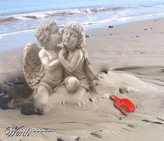 Cherubs, sand art