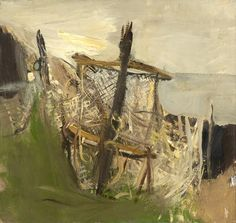 Fishing Nets, Oil on board, Joan Eardley - The Scottish Gallery, Edinburgh - Contemporary Art Since 1842 Abstract Landscape, Landscape Paintings, Abstract Art, Tamara Lempicka, Francoise Gilot, Post Impressionism, Famous Artists, British Artists, Fishnet