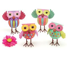 """#burtonandburton Hand-painted embossed tin owl decor.  Owls are colorful with whimsical look and have a spring inside the body to bounce.5 1/4""""H X 3 1/2""""W X 3""""D.1 assortment of 4."""