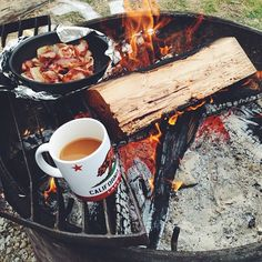 There's nothing better like bacon and coffee making in the woods.