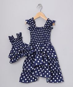 Take a look at this Blue Polka Dot Angel-Sleeve Dress & Doll Outfit by 4EverPrincess on #zulily today!